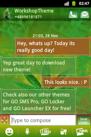 GO SMS Theme WEED GANJA - screenshot
