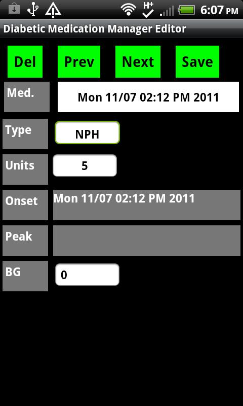 Diabetic Insulin Log/Alert- screenshot