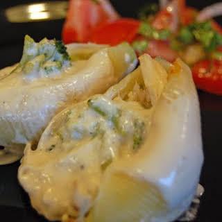 Chicken and Broccoli Stuffed Shells with Alfredo Sauce.