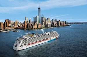 Norwegian Breakaway sails out of New York Harbor to her next destination.