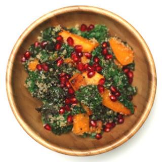 Crispy Kale Salad with Roasted Butternut Squash and Pomegranate Arils (gluten free + vegan).