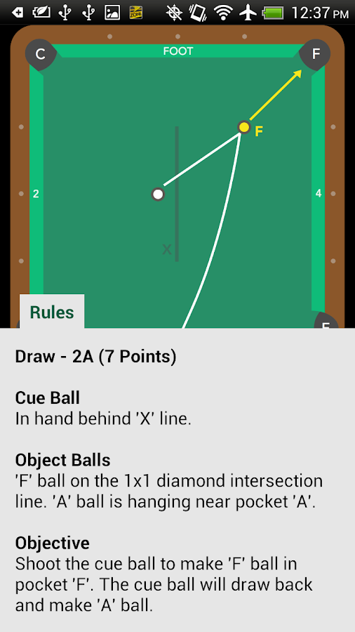 Pool Trick Shot Diagrams- screenshot