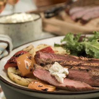 Chipotle Flank Steak With Creamy Cilantro Sauce.