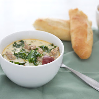 Spicy Sausage, Potato and Kale Soup