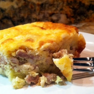 Breakfast Casserole with Sausage, Egg and Potato Crust.