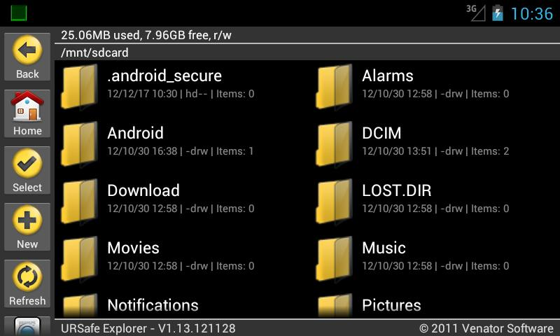 URSafe File Explorer PRO - screenshot