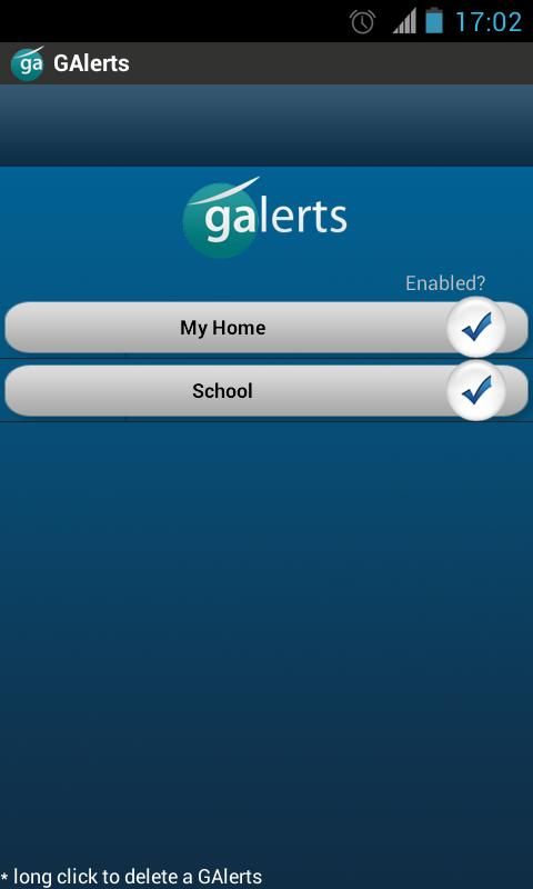 GAlerts - GPS alerts for trips - screenshot