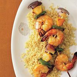 Pineapple-Shrimp Kebabs with Couscous.