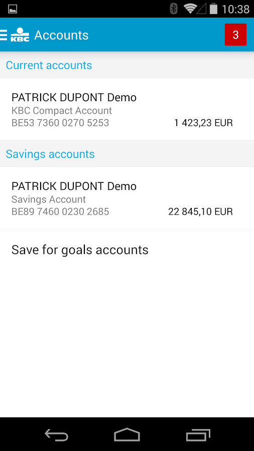 KBC Mobile Banking- screenshot