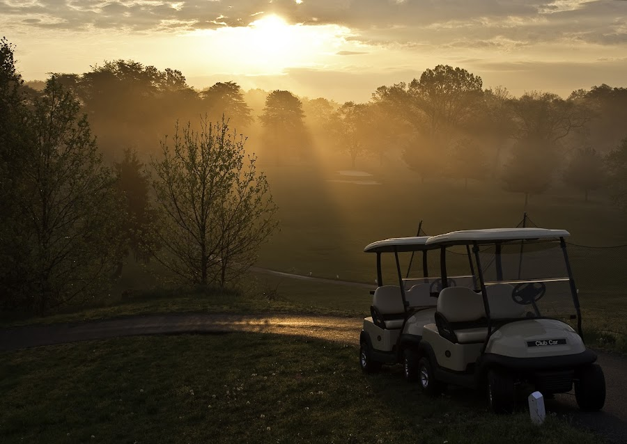 FIrst light by Deborah Felmey - Landscapes Sunsets & Sunrises ( carts, parks, golf, sunrise, fort meade golf course, sun )