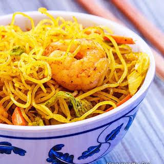 Singapore Rice Noodles with Shrimp.