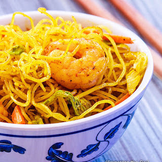 Singapore Rice Noodles with Shrimp.