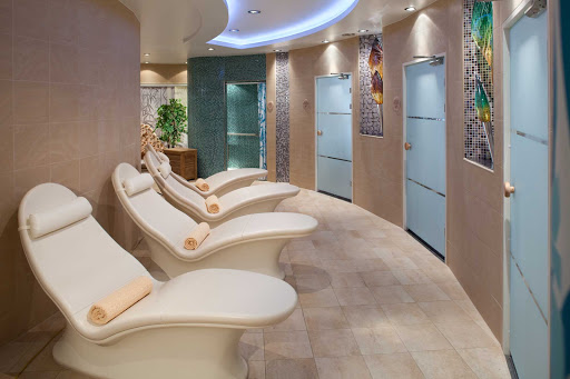 Allure-of-the-Seas-Thermal-Suite - Feel restored after escaping to the soothing Thermal Suite aboard Allure of the Seas. Part of the Vitality at Sea spa, it's a relaxation room that offers heated loungers as well as saunas and and steam rooms.