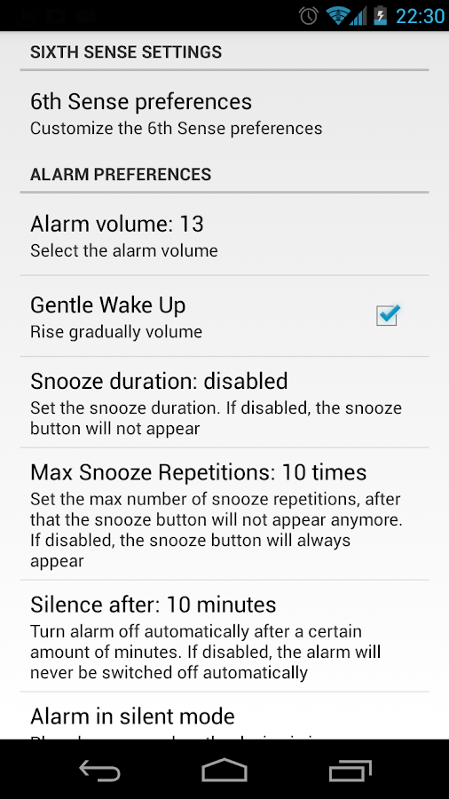 6th Sense (Alarm Clock)- screenshot