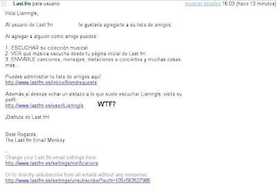 Captura de pantalla del correo