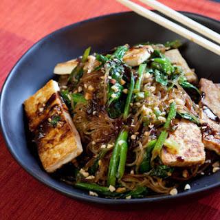 Yu Choy Cellophane Noodle Stir-Fry with Tofu & Peanuts.