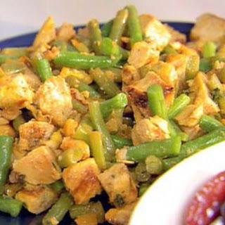 Saffron Chicken, Boiled Lemon And Green Bean Salad
