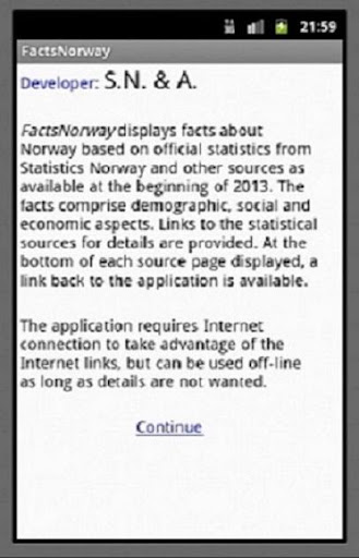 Statistical Facts for Norway