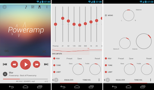 Poweramp skin Flat Light 7in1 v1.0.3