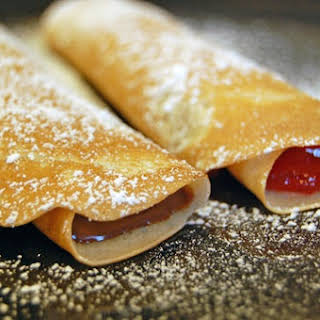 Crepes with Nutella and Strawberry Filling.