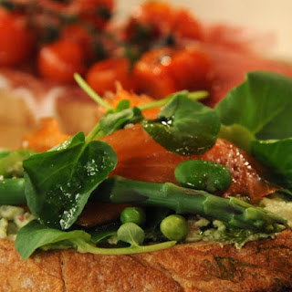 Tartine with Spring Vegetables, Smoked Salmon, Ricotta, and Basil Oil