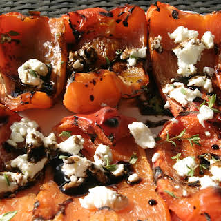 Grilled Red Peppers with Goat Cheese and Balsamic Glaze.