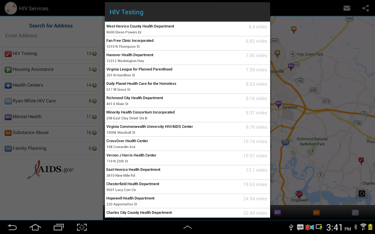 HIV Testing & Services Locator- screenshot