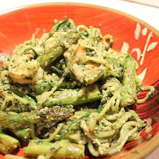 Pesto Zucchini Noodles with Asparagus and Shrimp.