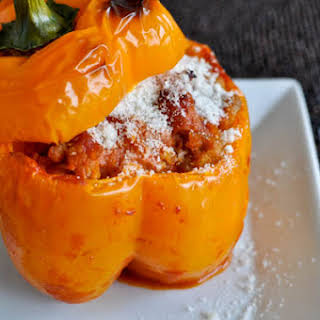 Stuffed Peppers with Tomato Basil Cream Sauce.