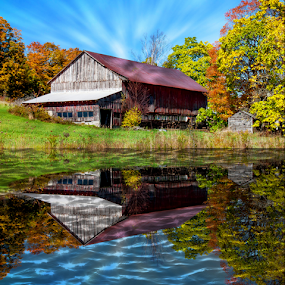 Barn By the Pond by Janet Lyle - Buildings & Architecture Decaying & Abandoned ( barn, autumn, foliage, fall )