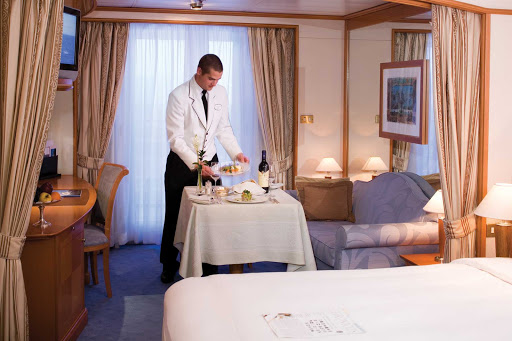 Silversea_in_suite_dining - Silversea offers guests in-suite dining from its renowned restaurant 24 hours a day.