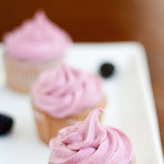 Blackberry Cupcakes with Blackberry Buttercream Frosting.