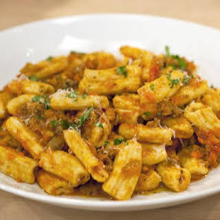 Fresh Rigatoni with Bolognese Sauce.