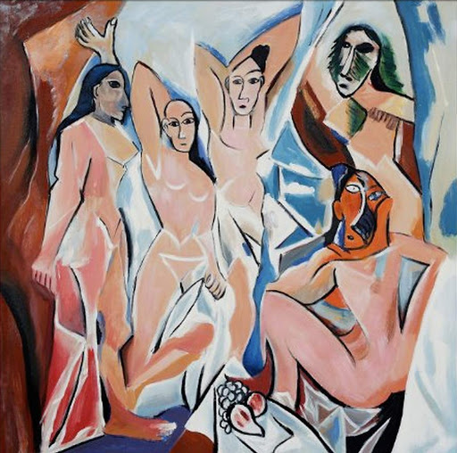 "Les-Demoiselles-d'Avignon - ""Les Demoiselles d'Avignon"" (1907), oil on canvas painting by Pablo Picasso. See it on the fifth floor of MOMA in New York."