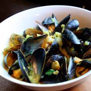 Steamed Mussels in Coconut Milk.