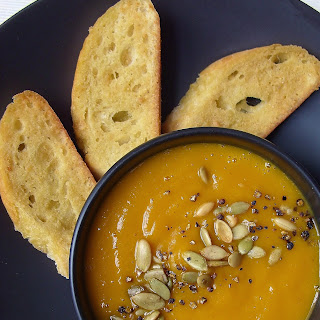 Creole Spiced Butternut Squash & Sweet Potato Soup with Vegan Parmesan Croutons.