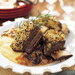 Morel-Crusted Ribs with Polenta