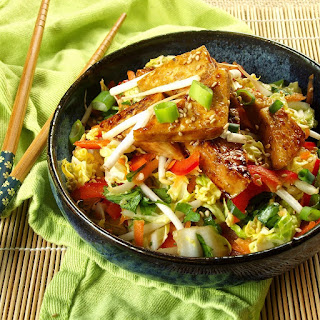 Sweet and Sour Slaw with Sticky Ginger Tofu