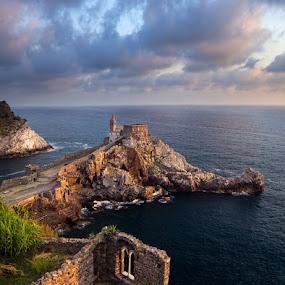 Portovenere, Italy by Tomas Vocelka - Landscapes Travel ( clouds, church, liguria, cliff, san pietro, sea, tourism, view, italy, portovenere, golden hour )