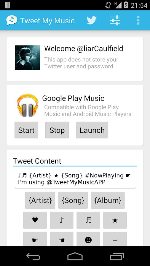 Tweet My Music- screenshot