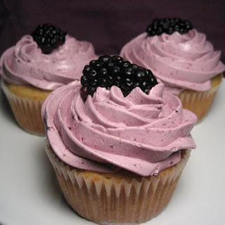 Brown Sugar-Hazelnut Cupcakes with Blackberry Buttercream Frosting.