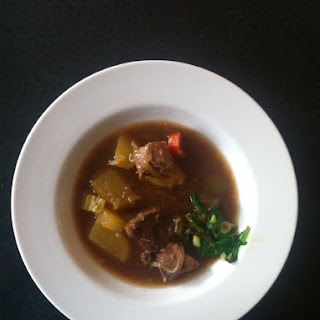 Lamb Stew with Quick-braised ramp garnish.