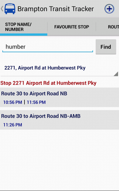 Brampton Transit Tracker- screenshot