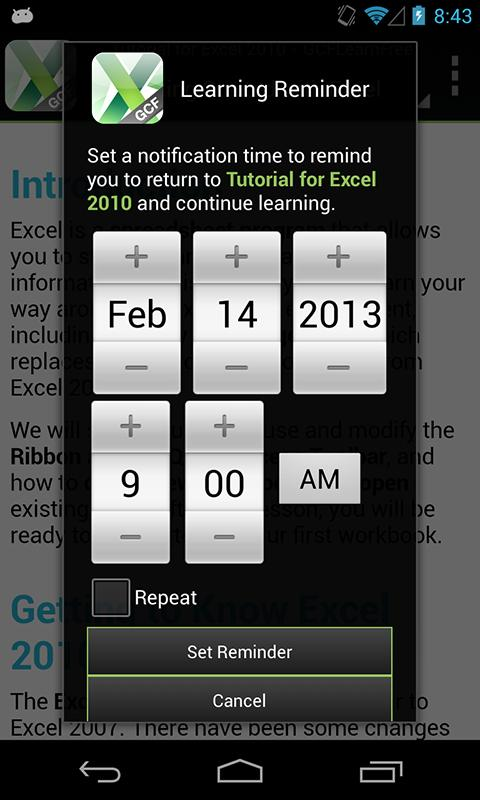 GCF Excel 2010 Tutorial- screenshot