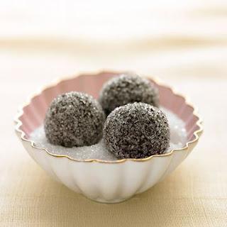 Chocolate-Champagne Truffles in Sparkling Sugar.