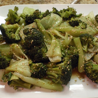 Steamed Asian Greens With Honey Soy Sesame Dressing.
