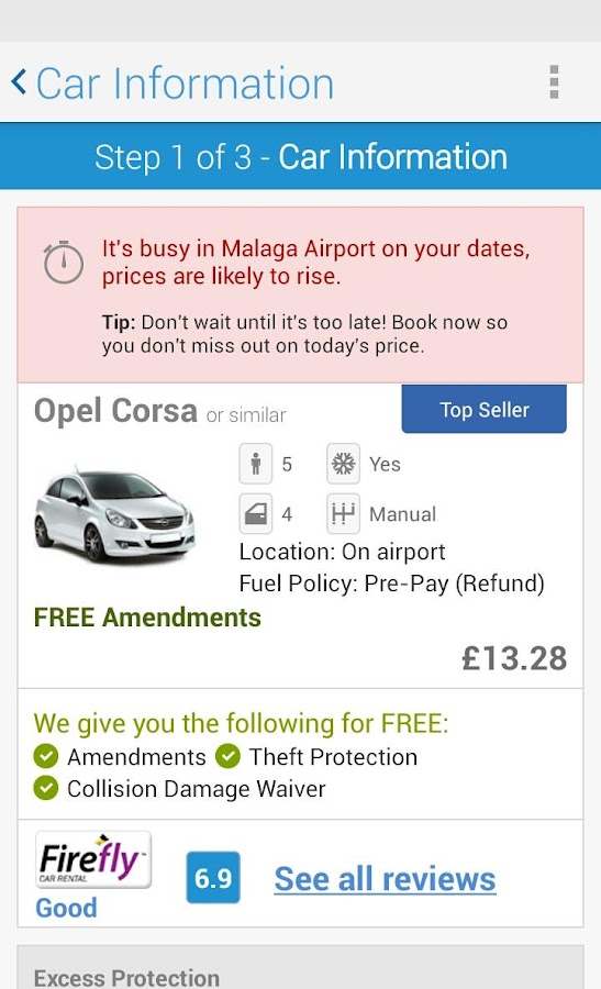rentalcars.com Car hire App - screenshot
