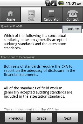Gleim CPA Diagnostic Quiz - screenshot