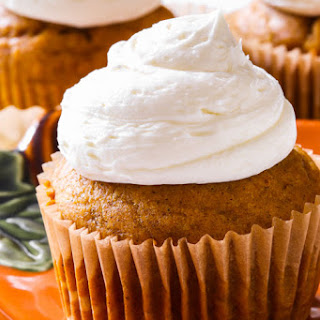 Spiced Pumpkin Cupcakes with Marshmallow Frosting.