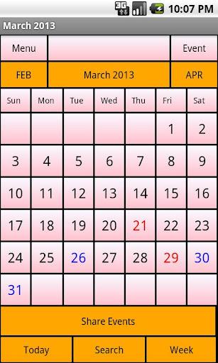 Calendar Me South Africa 2013